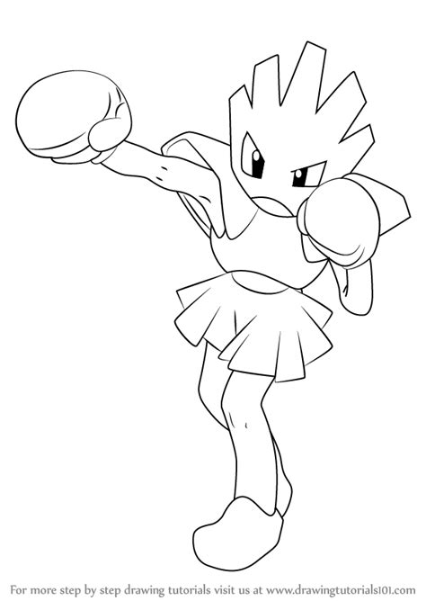 pokemon coloring pages hitmonchan learn how to draw hitmonchan from pokemon pokemon step