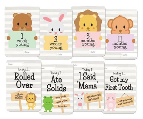 baby milestone card template printables baby animals milestone card set