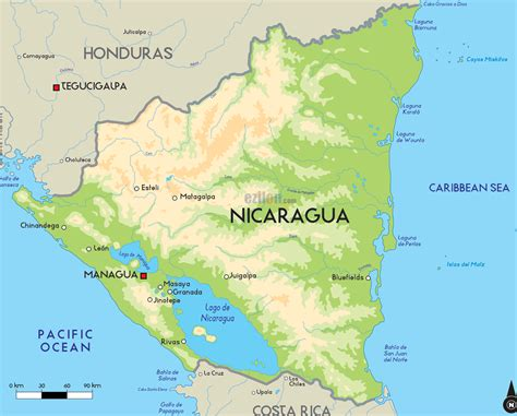 physical map of nicaragua nicaragua geophysical map