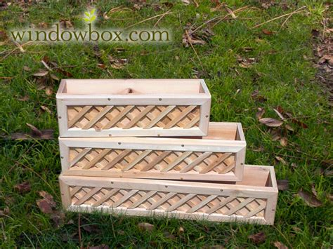 wooden window box planters cedar with lattice 705 w jpg