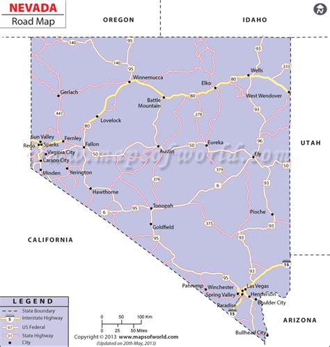 nevada in the map of usa nevada road map