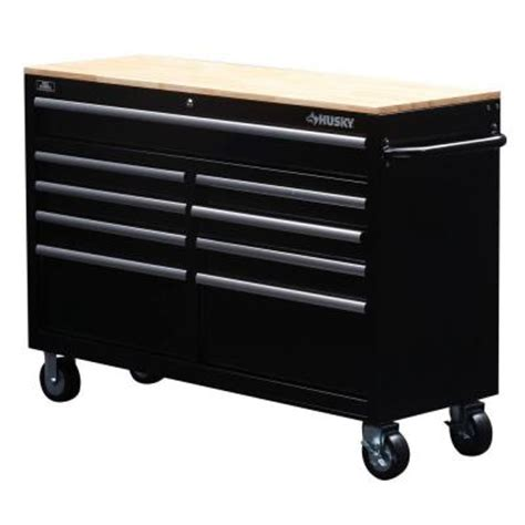 husky tool bench husky 52 in w 9 drawer mobile work bench black 75809ahr