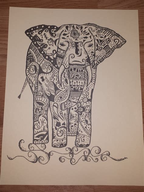 indian doodle indian inspired elephant doodle print by gypsycreations17