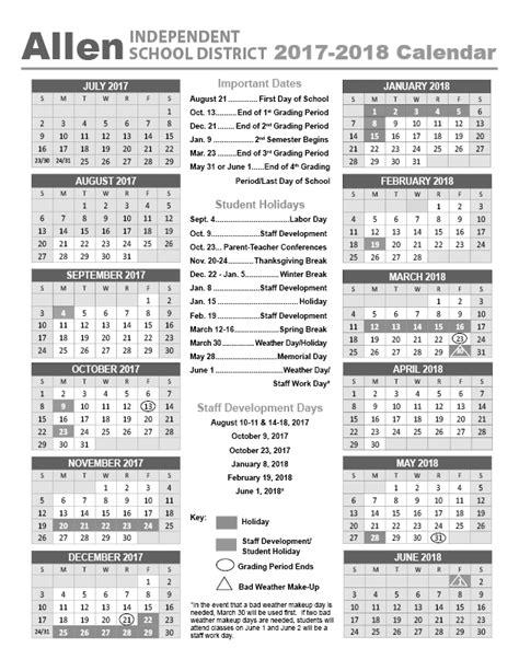Calendar 2018 List Allen Isd Calendar 2017 2018 Holidays List 2017 Calendar