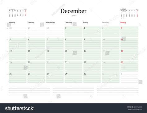 printable monthly calendar week starts monday monthly calendar planner 2016 vector print stock vector