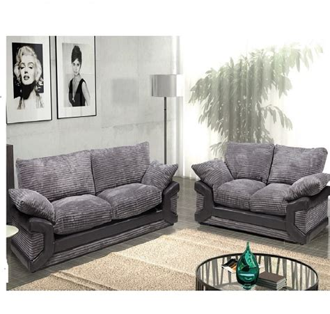 dinos fabric sofa suite 3 and 2 seater black and grey 20371