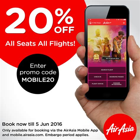 airasia promo mobile promo 20 off all seats all flights airasia