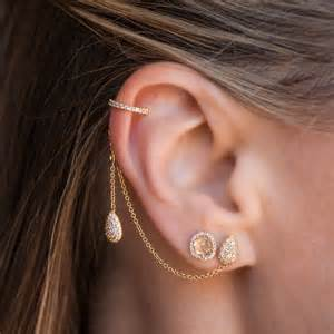 gold ear cuff 14kt gold pear stud and ear cuff chain earrings