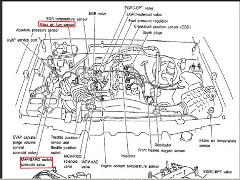 2000 nissan frontier parts diagram where is the map sensor on my 2000 nissan frontier 2 4l 4