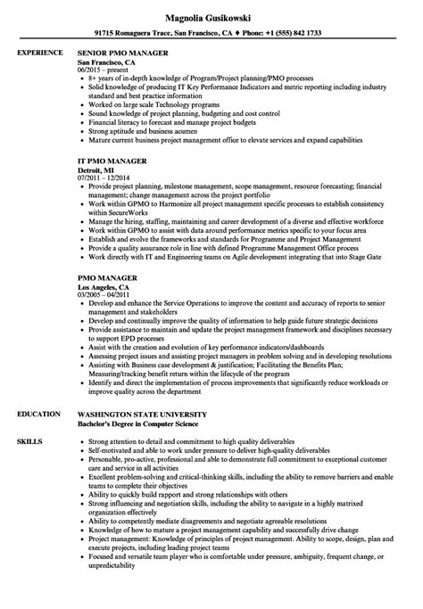 pmo manager resume sle pmo resume resume for study
