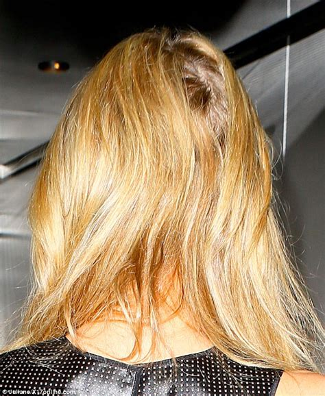 hair weevinf in south jersey paris hilton s bottle blonde locks appear patchy at lax
