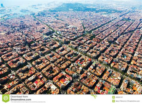barcelona aerial view aerial view of barcelona cityscape from helicopter stock
