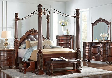 King Canopy Bedroom Sets Sale by Southton Walnut Brown 6 Pc King Canopy Bedroom