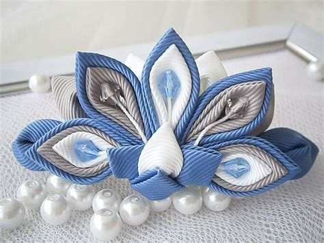 Handmade Accessories Uk - items similar to handmade kanzashi fabric flower grosgrain