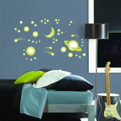 space bedroom stickers glow in the dark space 46 big wall decals stars moon