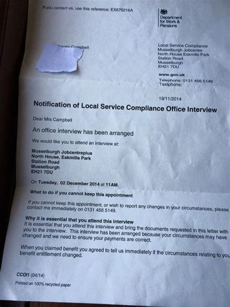 Local Credit Letter aged 90 told to attend centre