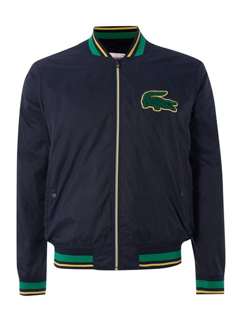 Lacoste Croc Zippered 2892 lacoste live big croc bomber jacket in blue for lyst