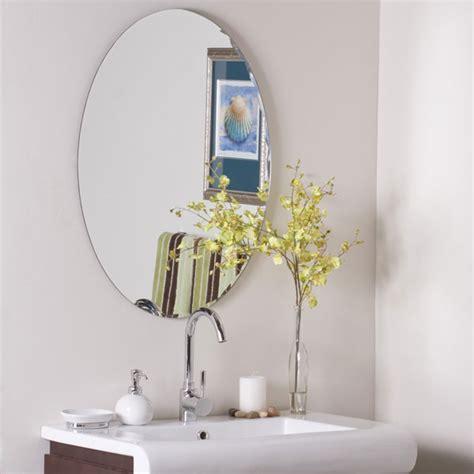 large round frameless bathroom mirror dcg stores modern oval frameless wall mirror dcg stores