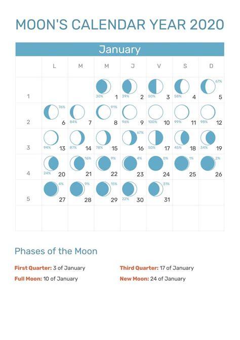 january  calendar printable template  word excel  images lunar calendar moon