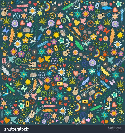 hippie vector pattern vector pattern hippie symbols stock vector 471274508