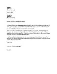 letter to host family
