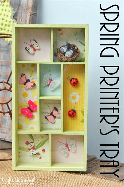 diy spring projects spring diy printer tray shadow box decor