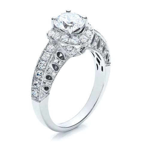 halo filigree milgrain engagement ring vanna k 100097