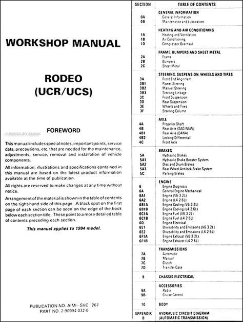 car repair manuals download 1994 honda passport on board diagnostic system 1994 1995 isuzu rodeo honda passport repair shop manual original