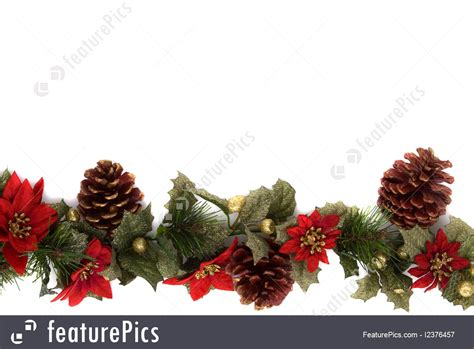 holidays poinsettia  christmas decoration border side border stock picture