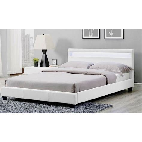 queen white bed frame prada led queen bed frame in white pu leather buy queen