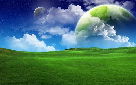 wallpaper green field planets over green field wallpaper 426635