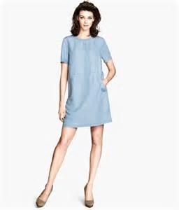h amp m denim dress in blue lyst