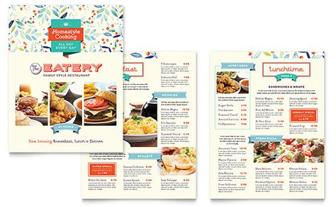 Free Menu Card Template Indesign by Family Restaurant Menu Template Design