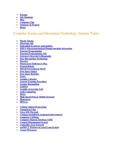 Mba Computer Science Subjects by Computer Science Seminar Topics