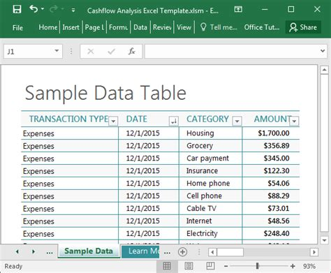 Cashflow Analysis Excel Template Data Analysis Template Excel