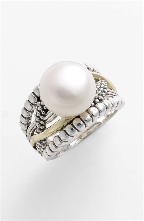 lagos pearl unlaced ring in gold gold pearl lyst