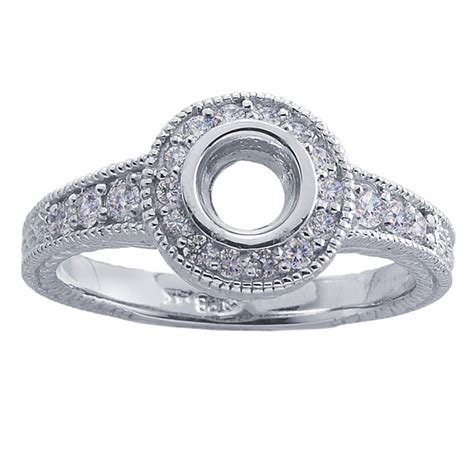 14k white gold 40 ct semi mount ring mounting