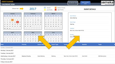 interactive excel calendar template dynamic event calendar interactive excel tempate