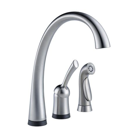 delta single handle kitchen faucet delta faucet 4380t ar dst pilar waterfall single handle side sprayer kitchen faucet with touch2o