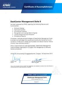 Adrebe Anschreiben Kpmg Kpmg Zertifiziert Deskcenter 174 Management Suite Als Sam Tool Deskcenter Solutions Ag