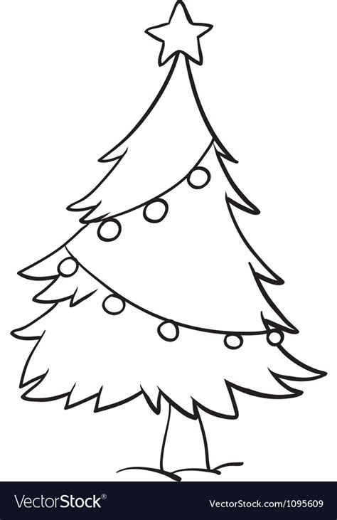 christmas picture outline tree outline royalty free vector image