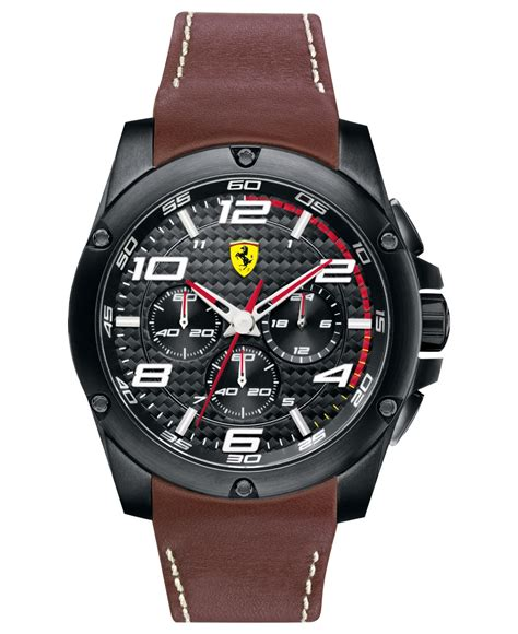 Ripcurl Chrono Brown lyst scuderia s chronograph paddock brown leather 46mm 830029 in brown for