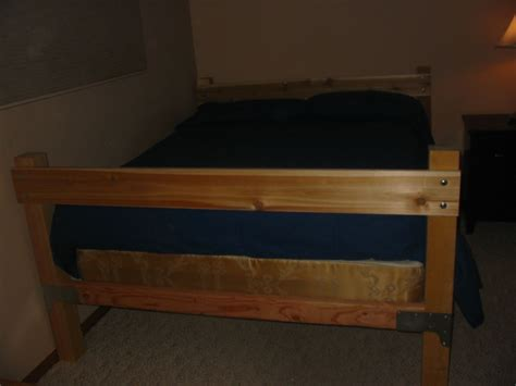 Wooden Bed Frame Hardware Selkie Wood Works Bed Frame Out Of Construction Brackets And Lumber