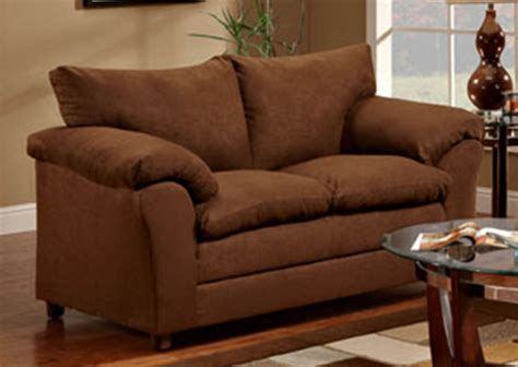 sofa and love seat chocolate microfiber upholstered sofa and love seat set