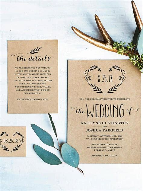 15 beautiful rustic diy wedding invitations wedding ideas
