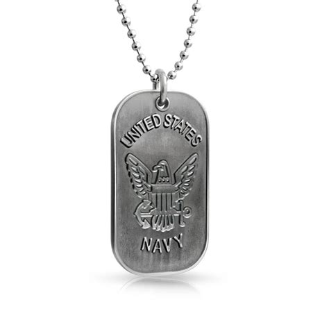 navy tags stainless steel mens us navy tag pendant necklace 20in