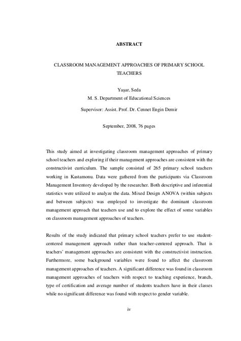thesis abstract about classroom management classroom management approaches of primary school teachers