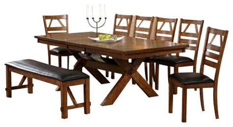 Picnic Table Style Dining Set 8 Walnut Finish Picnic Style Dining Table Set With Upholstered Seat Chairs Contemporary