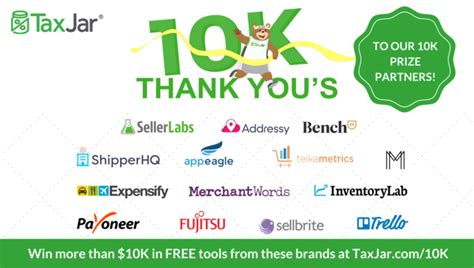 10k Giveaway - taxjar celebrates 10k customers by giving away 10k in free business tools