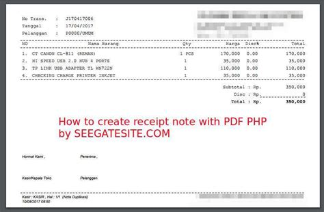 php tutorial book pdf how to create pdf receipt note using fpdf library